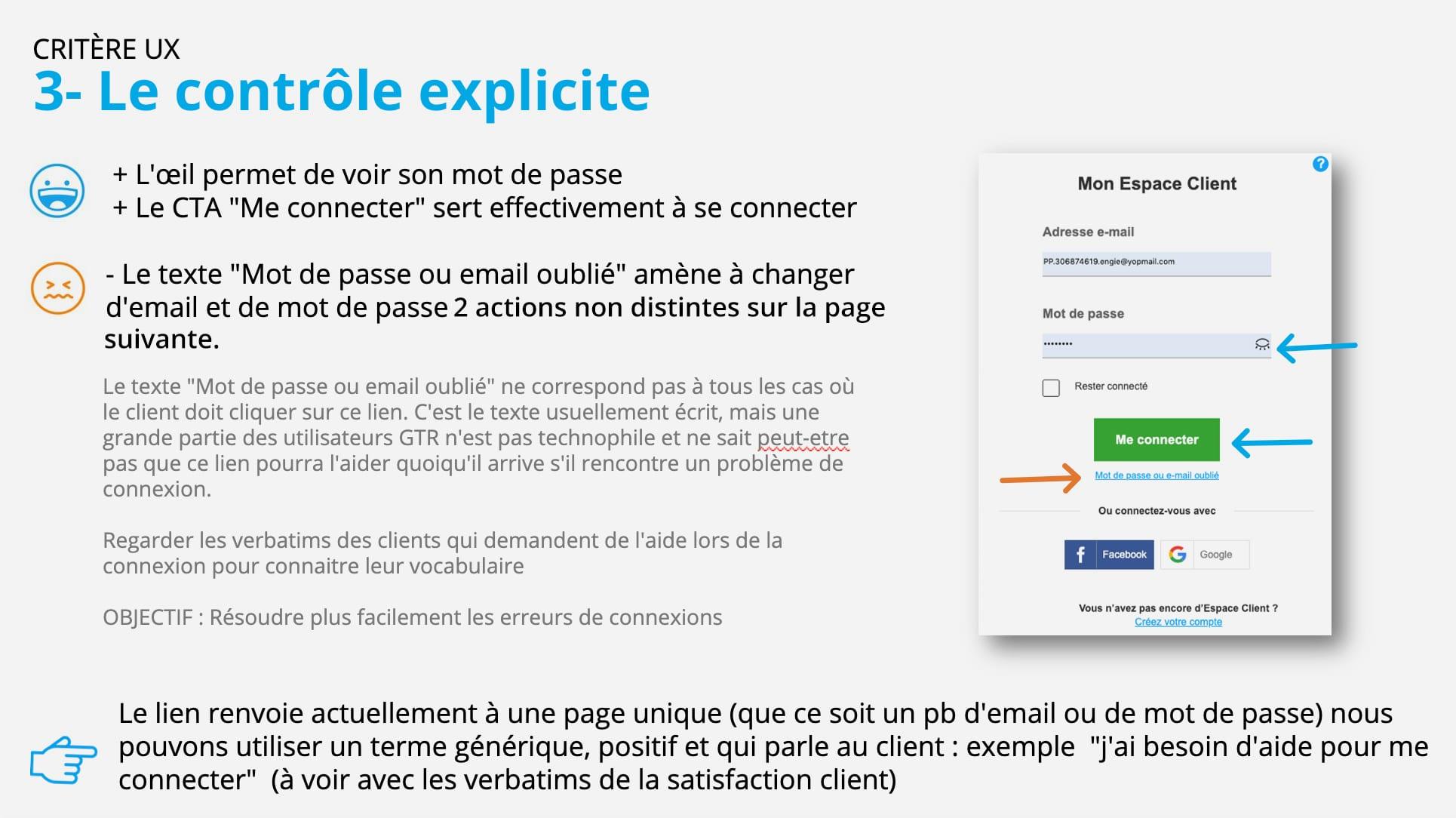 Audit - Critère UX : controle explicite