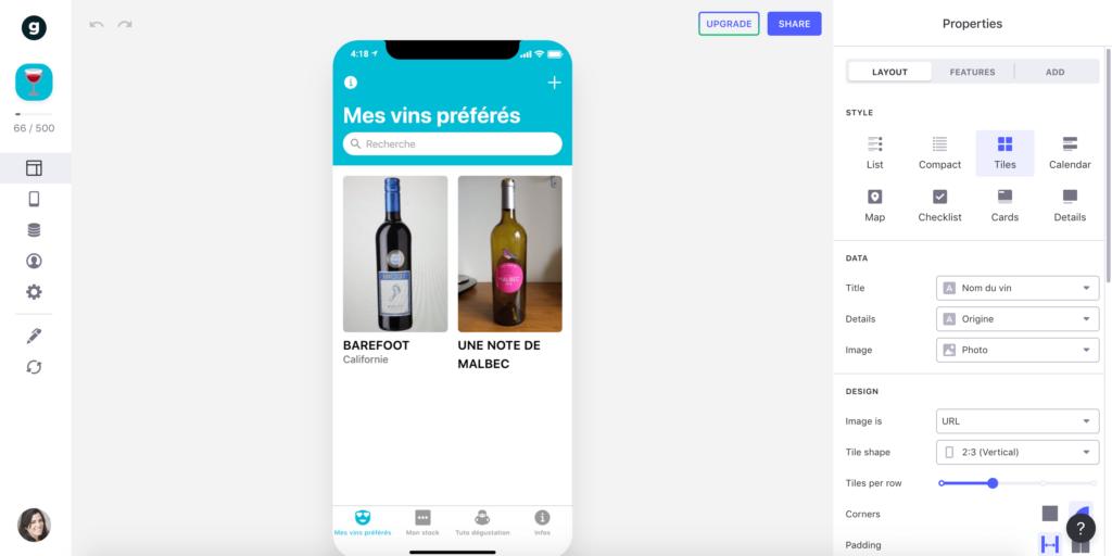 Interface de GLIDEAPPS, l'outil de création d'application mobile en ligne, no-code et gratuit
